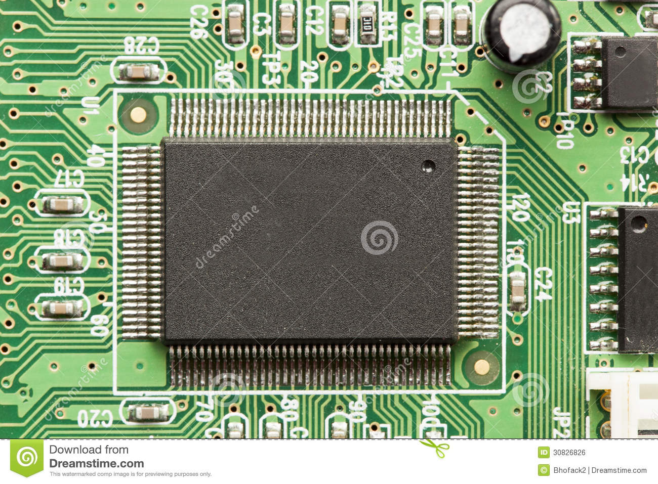 Green Electrical Circuit Board With Microchips And Transistors Stock ...