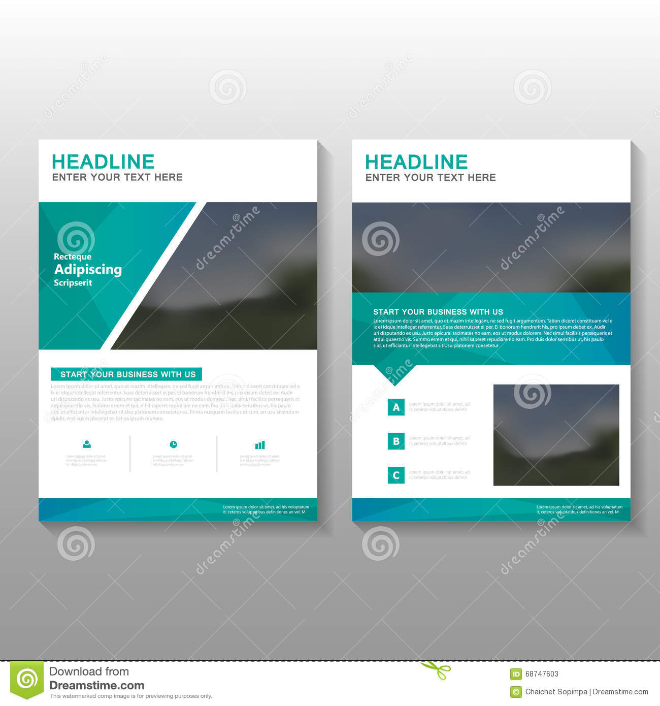 Green Elegance Vector Leaflet Brochure Flyer Business Proposal ...