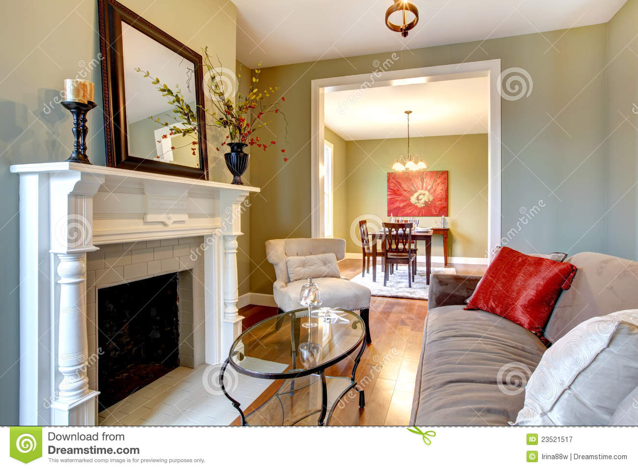 Green Elegant Living Room With Fireplace Stock Image