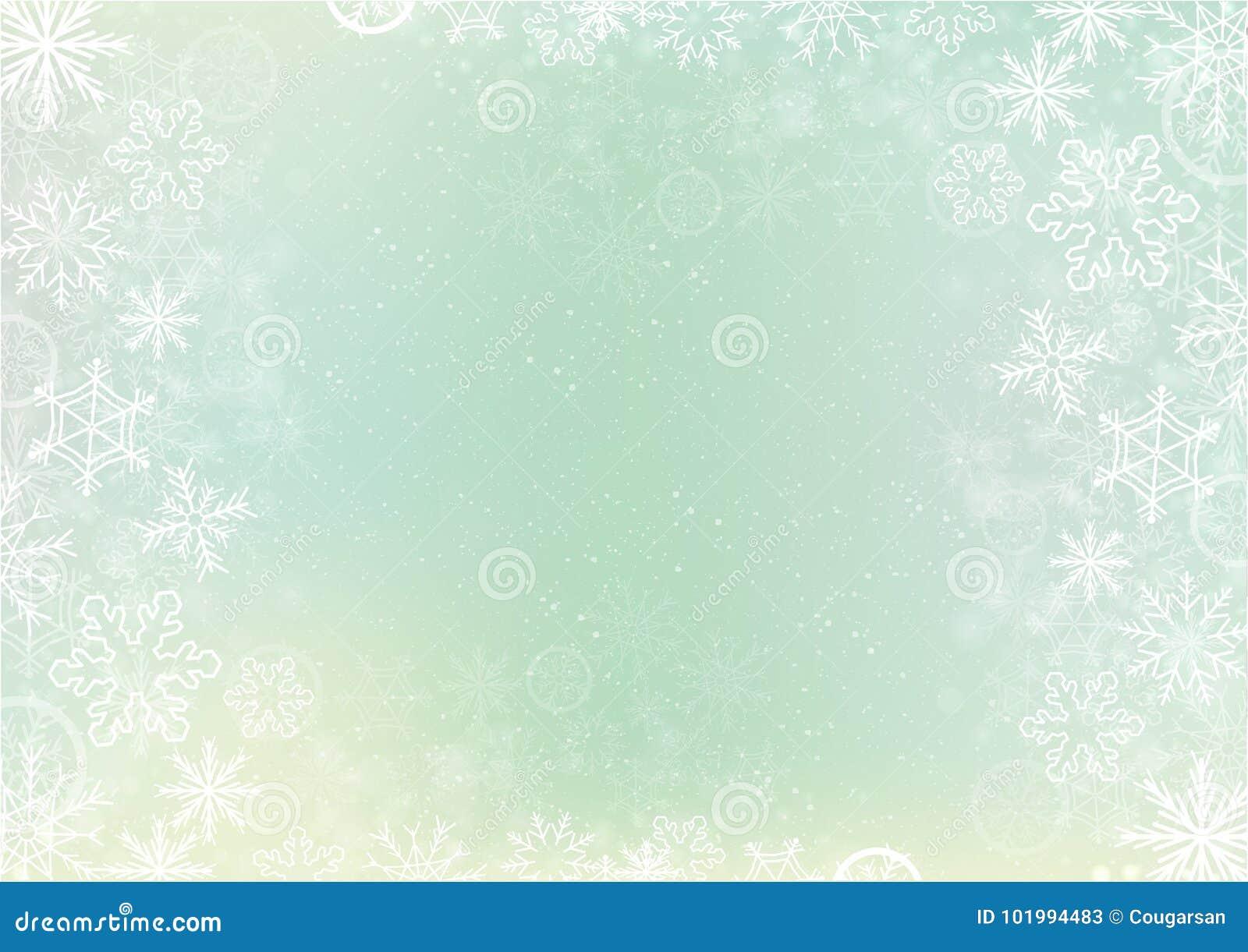 green elegant winter background with snowflake border