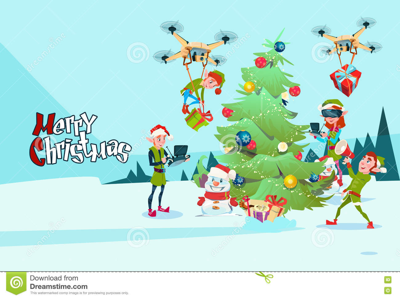 Green elf group decoration christmas tree with drone wear virtual download comp m4hsunfo