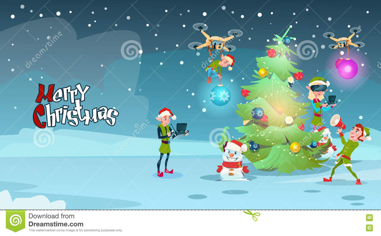 Green Elf Group Decoration Christmas Tree With Drone Wear Virtual ...