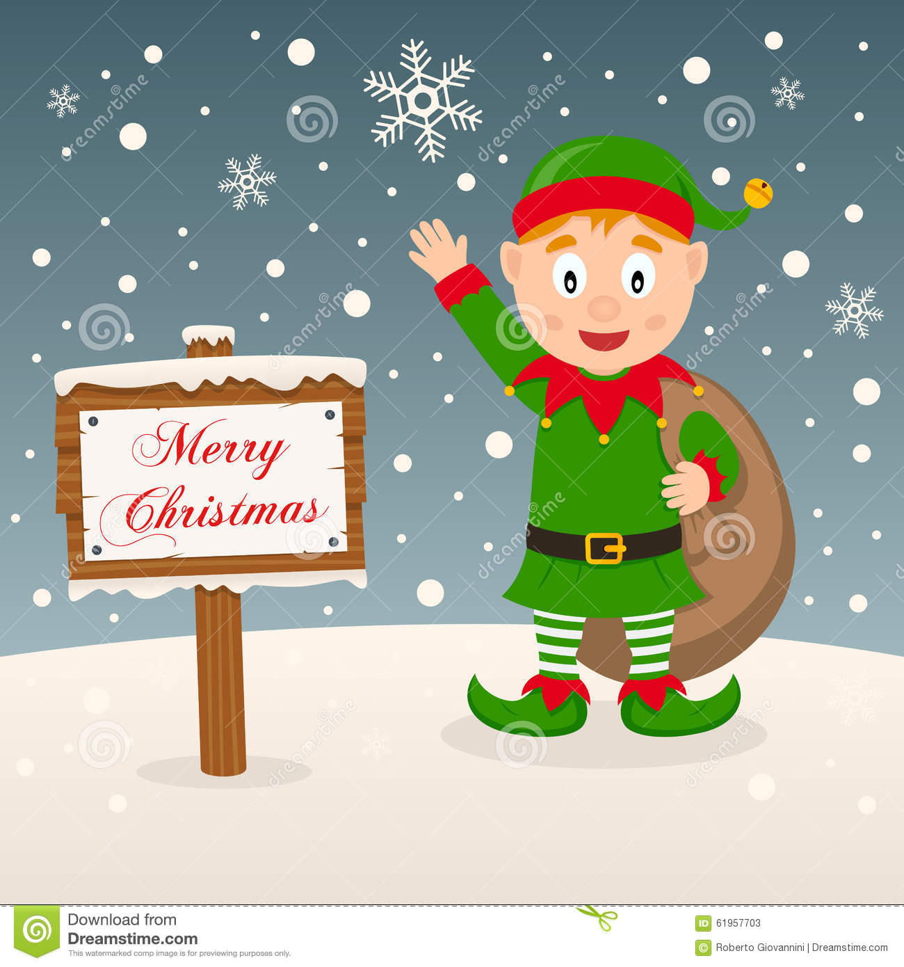 Green Elf With Merry Christmas Sign Stock Vector - Image: 61957703