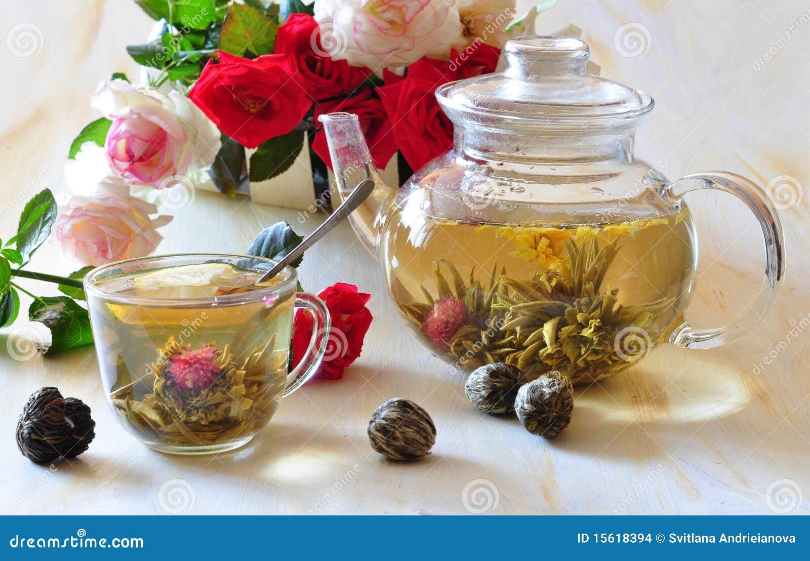 Green elite tea and roses