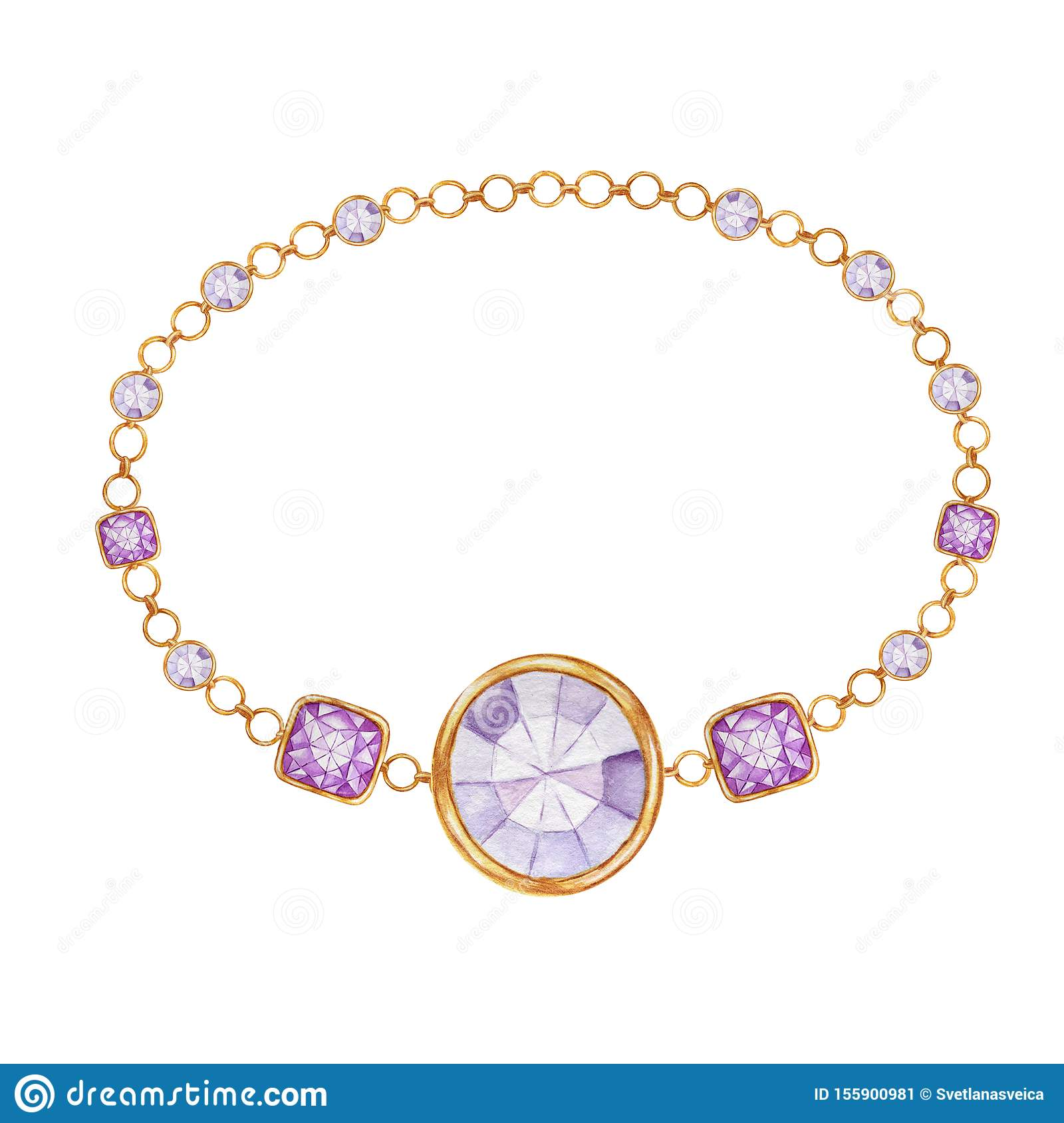 Purple square and round crystal gemstone with gold element. Beautiful jewelry bracelet. Watercolor drawing bracelete
