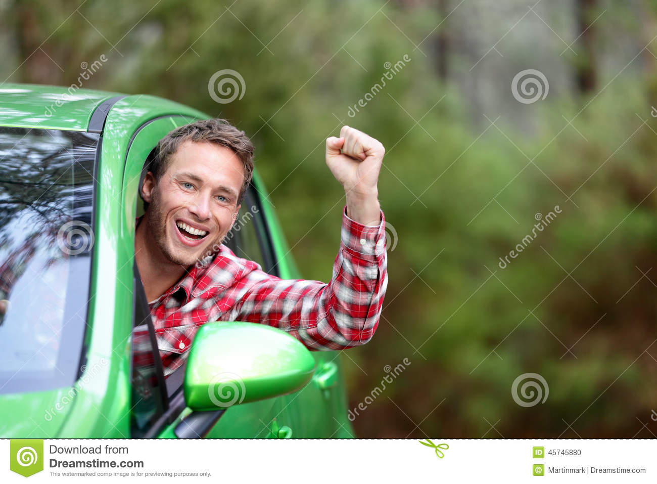 Green energy biofuel electric car driver happy stock photo for Cheerful nature