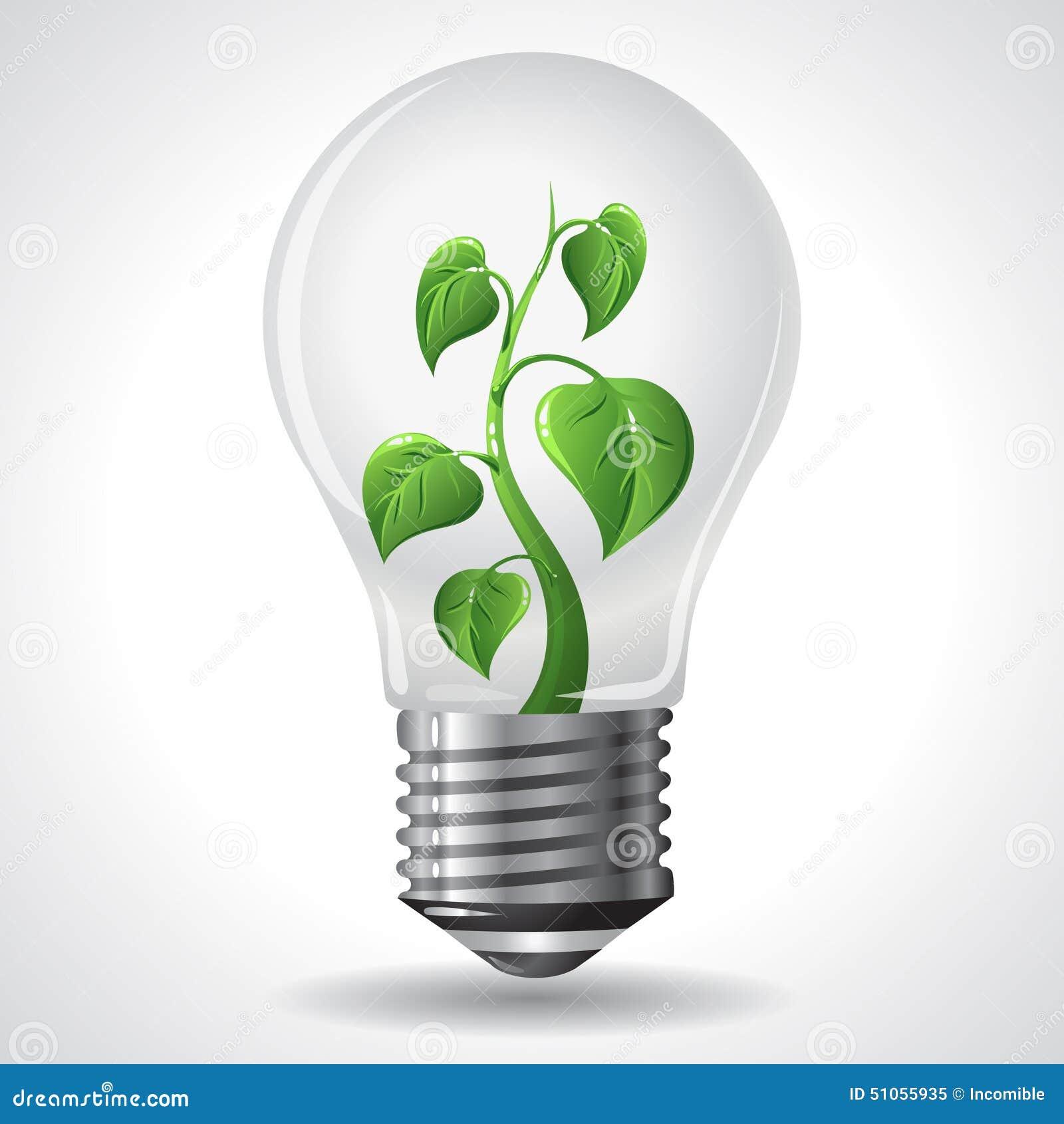 Green Energy Concept Power Saving Light Bulbs Stock Vector Image 51055935