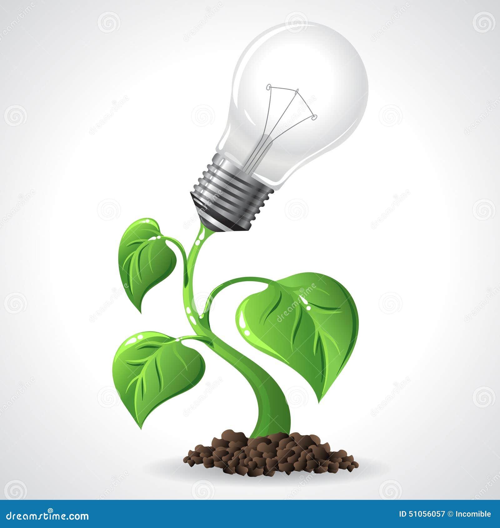 Green Energy Concept Power Saving Light Bulbs Stock Vector Image 51056057