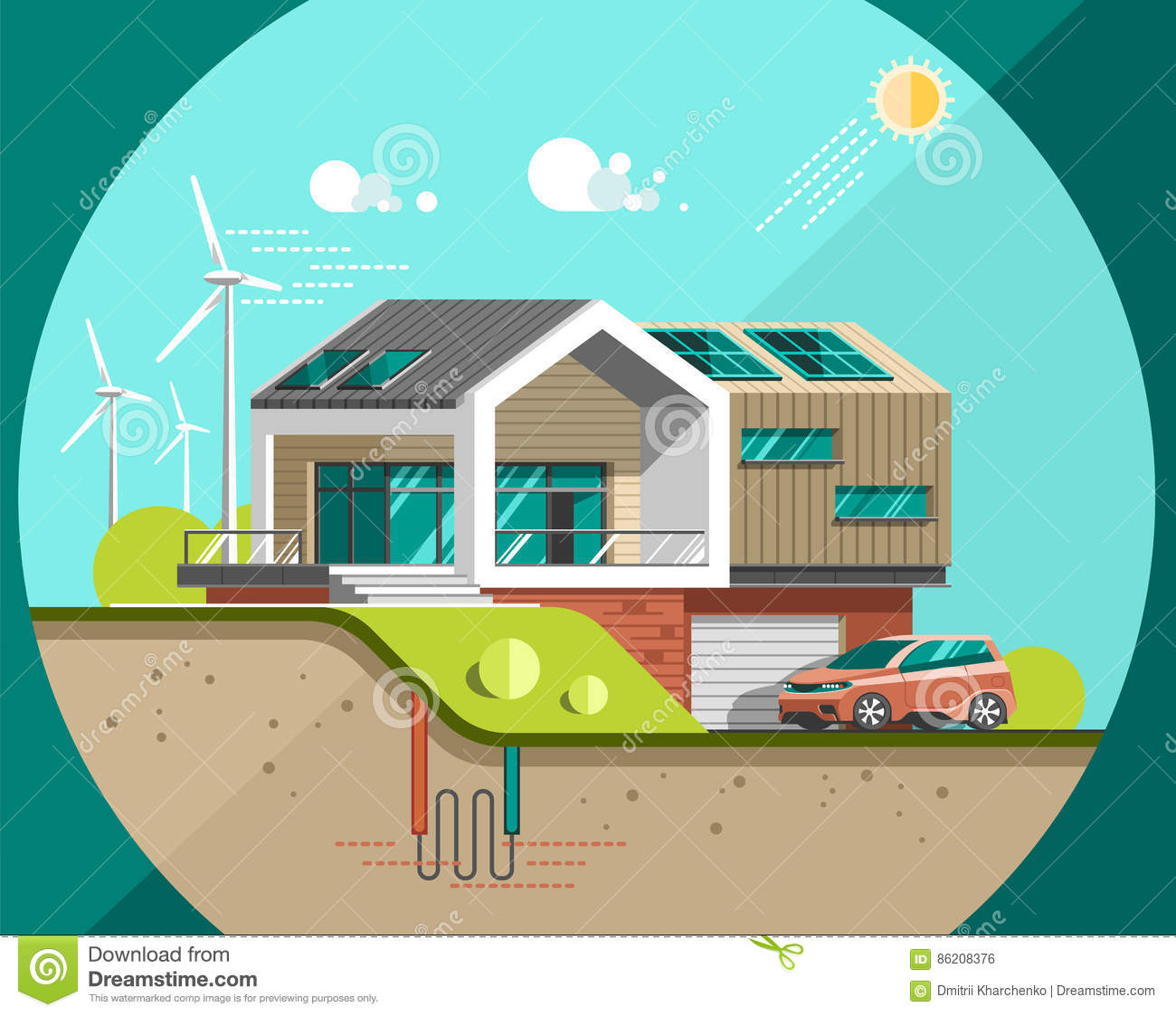 Green Energy And Eco Friendly Modern House Stock Vector