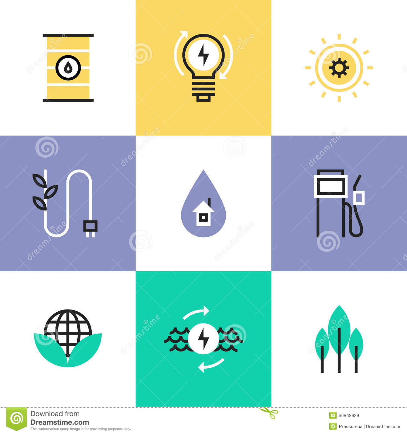 Green Energy Electricity Pictogram Icons Set Flat Line Efficiency Development Effective Consumption Solar Oil Source