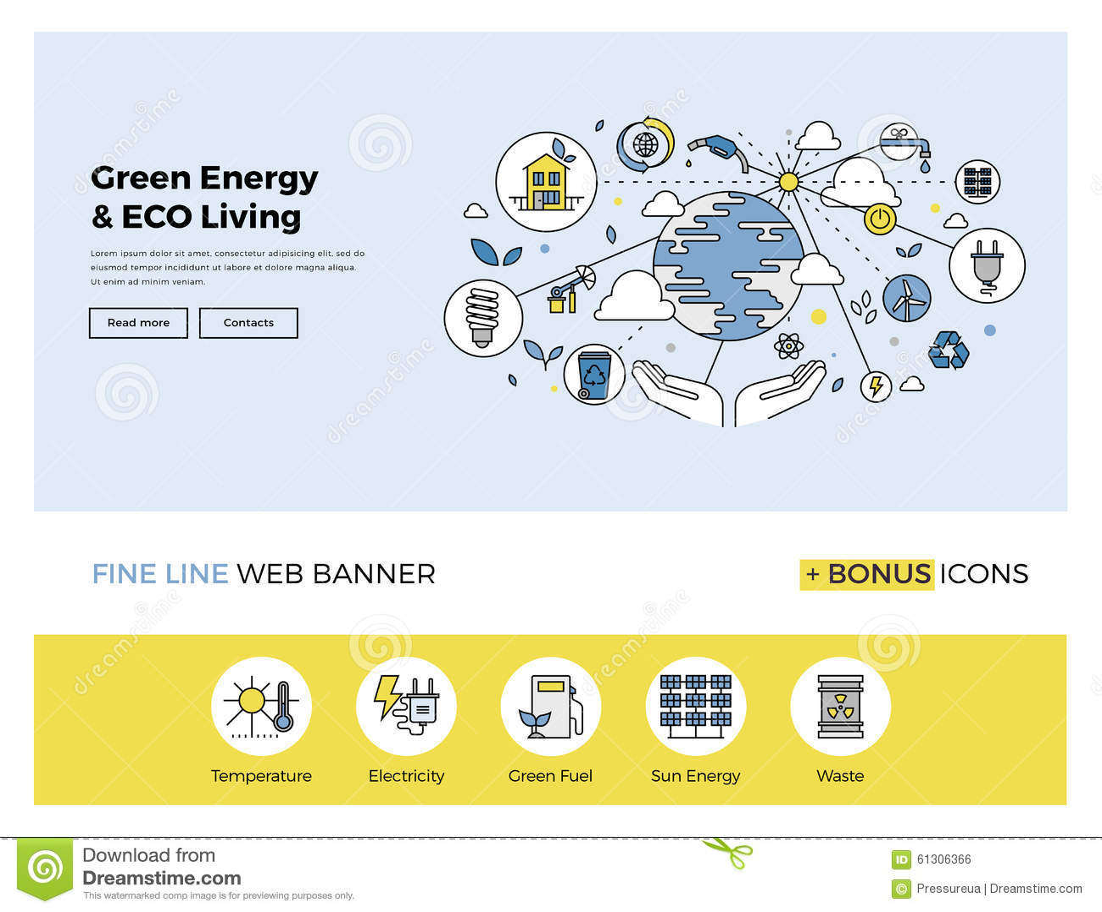 green energy flat line banner stock vector image 61306366. Black Bedroom Furniture Sets. Home Design Ideas