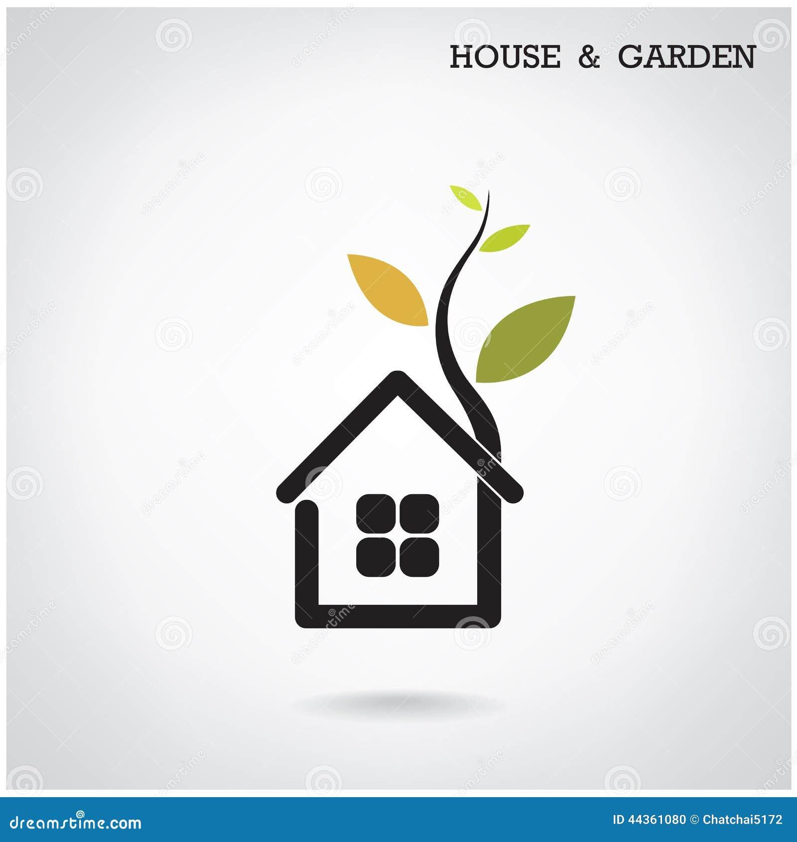Green Energy Home Concept House And Garden Symbol Vector