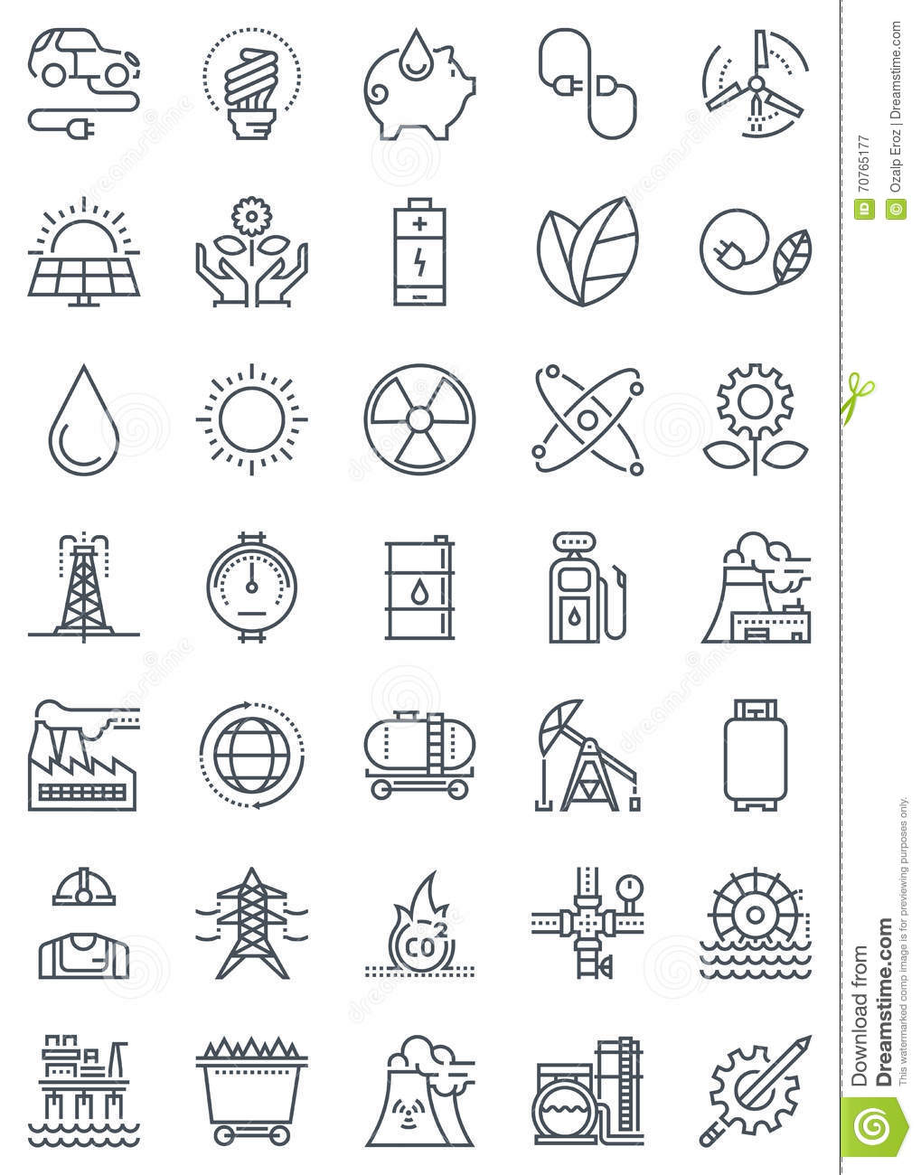 Green Energy And Industry Icon Set Stock Illustration ...