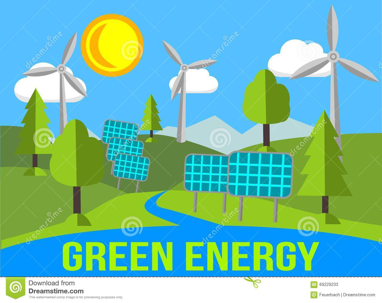 Green Energy Landscape With Renewables Solar Panels And