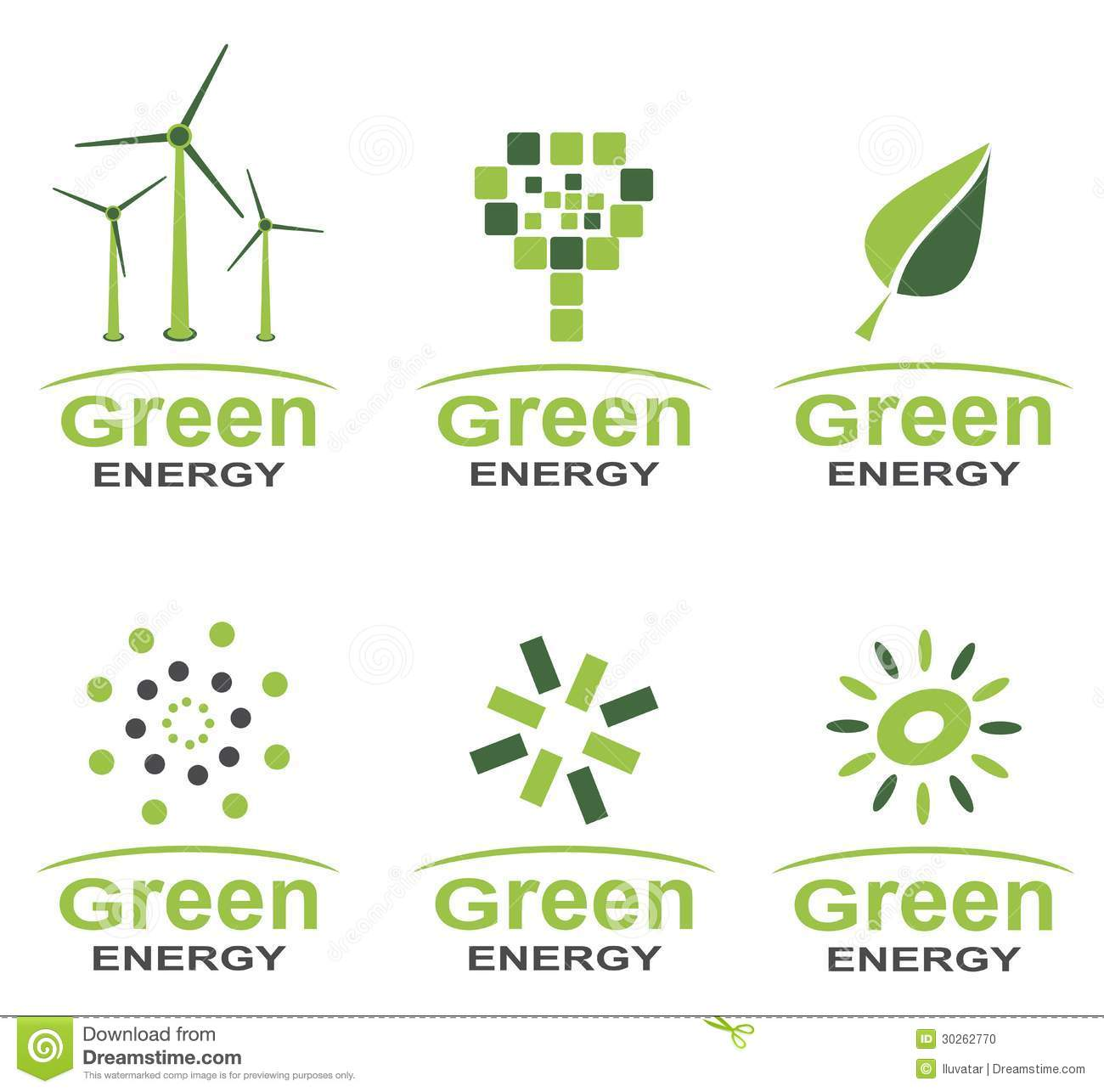 Green Energy Logo Set Stock Photo - Image: 30262770