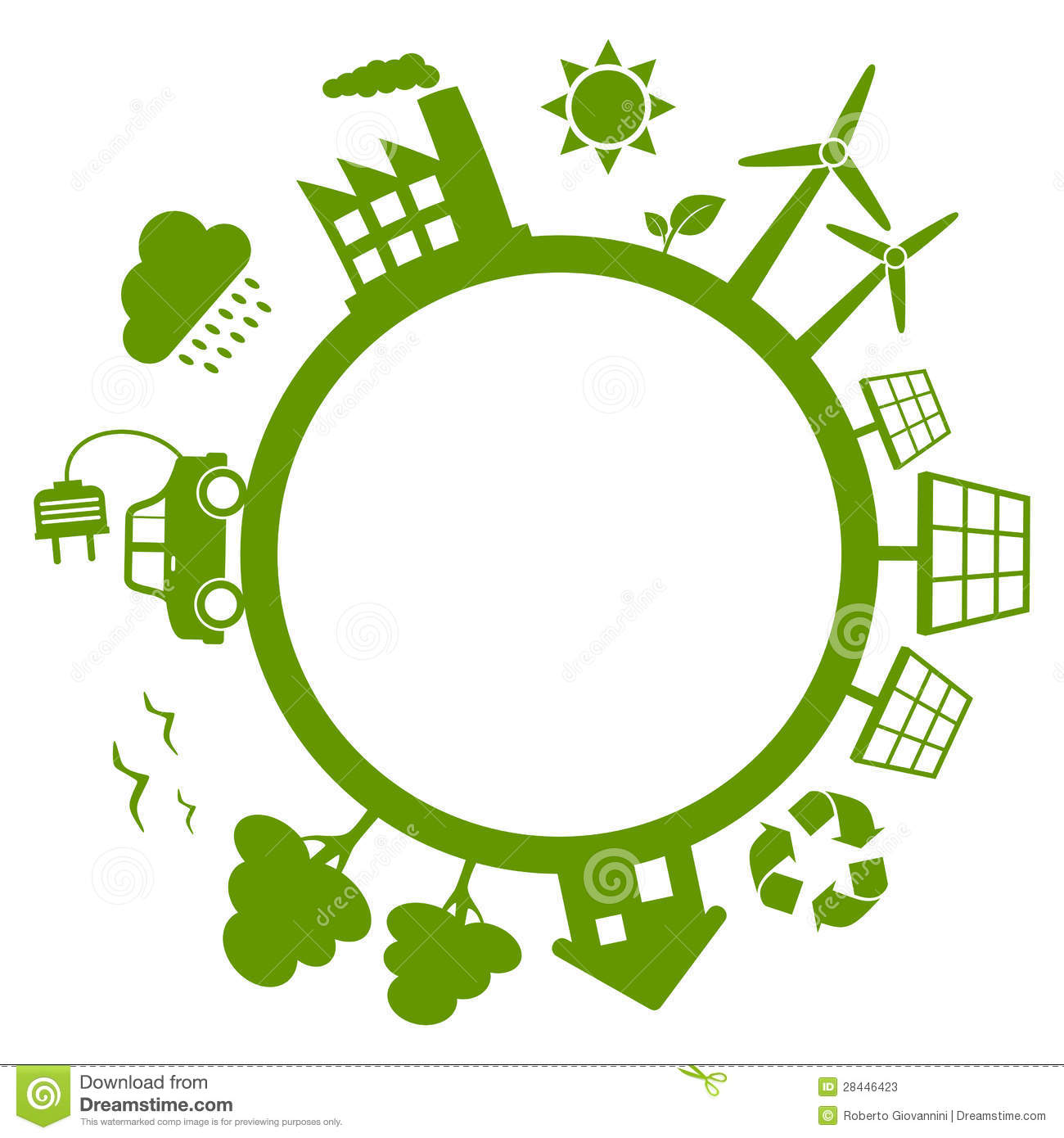 Green energy planet earth concept with wind turbines, solar panels ...