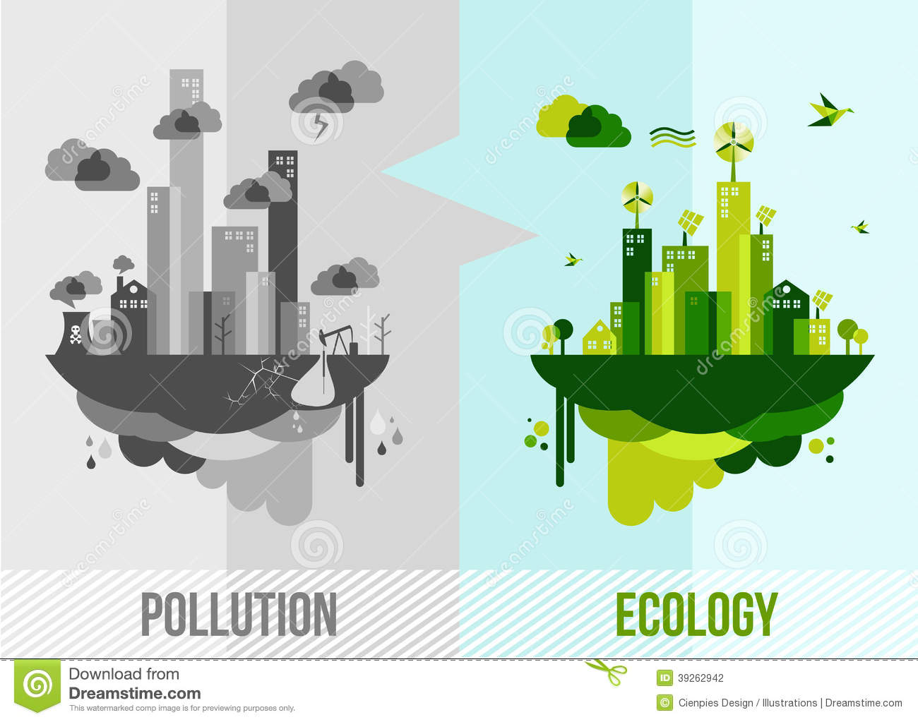 Go green environment illustration. Ecology and pollution city concept ...