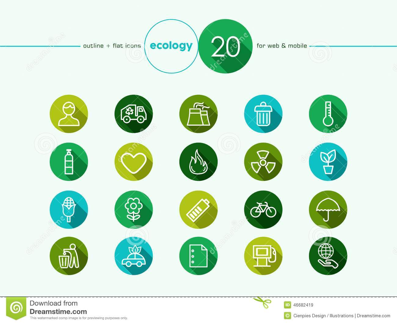 Green environment flat icons set