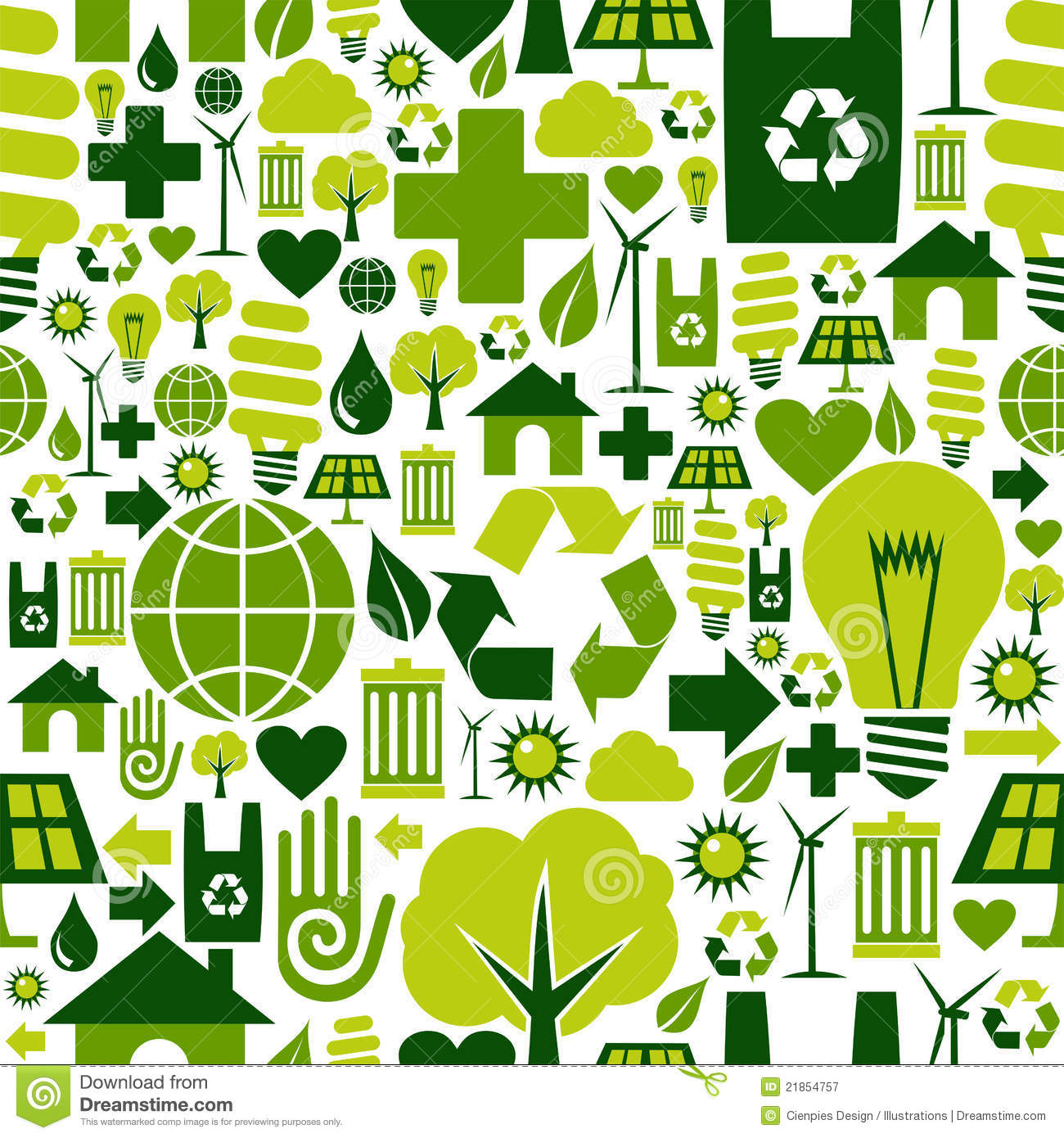 Green Environment Icons Pattern Background Royalty Free