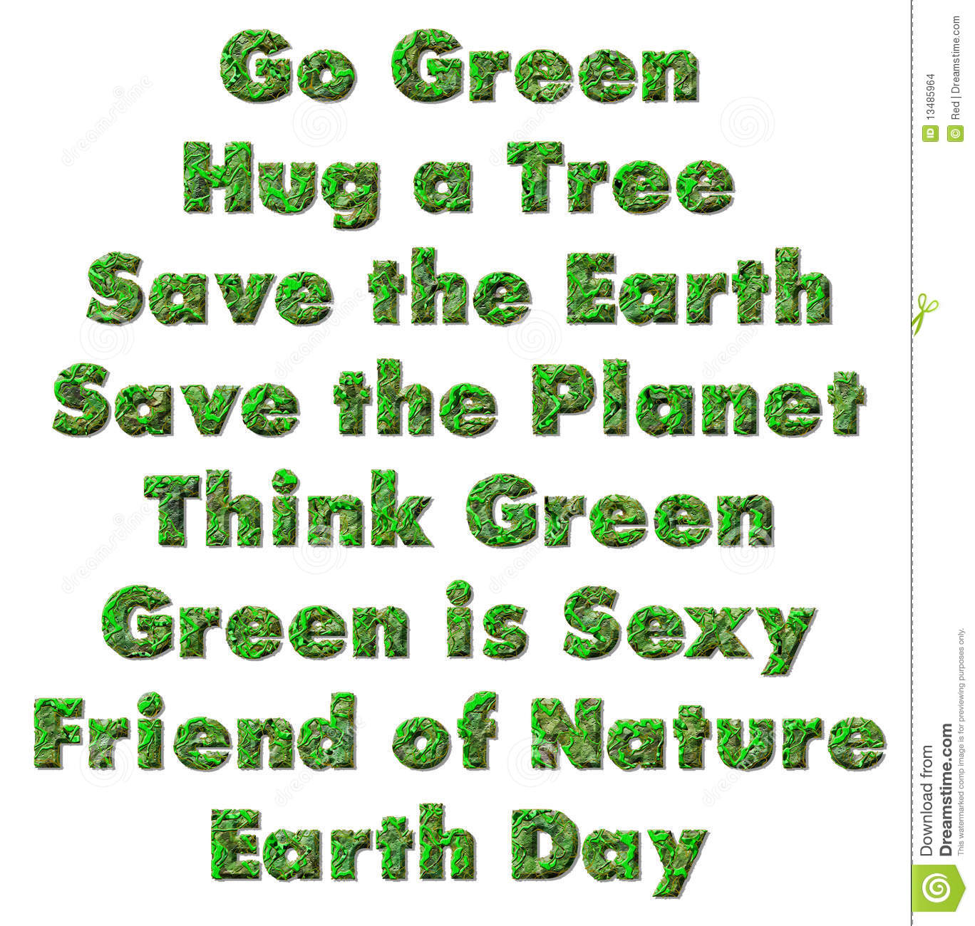 Earth Day. Environmental slogans, sayings and phrases about the earth