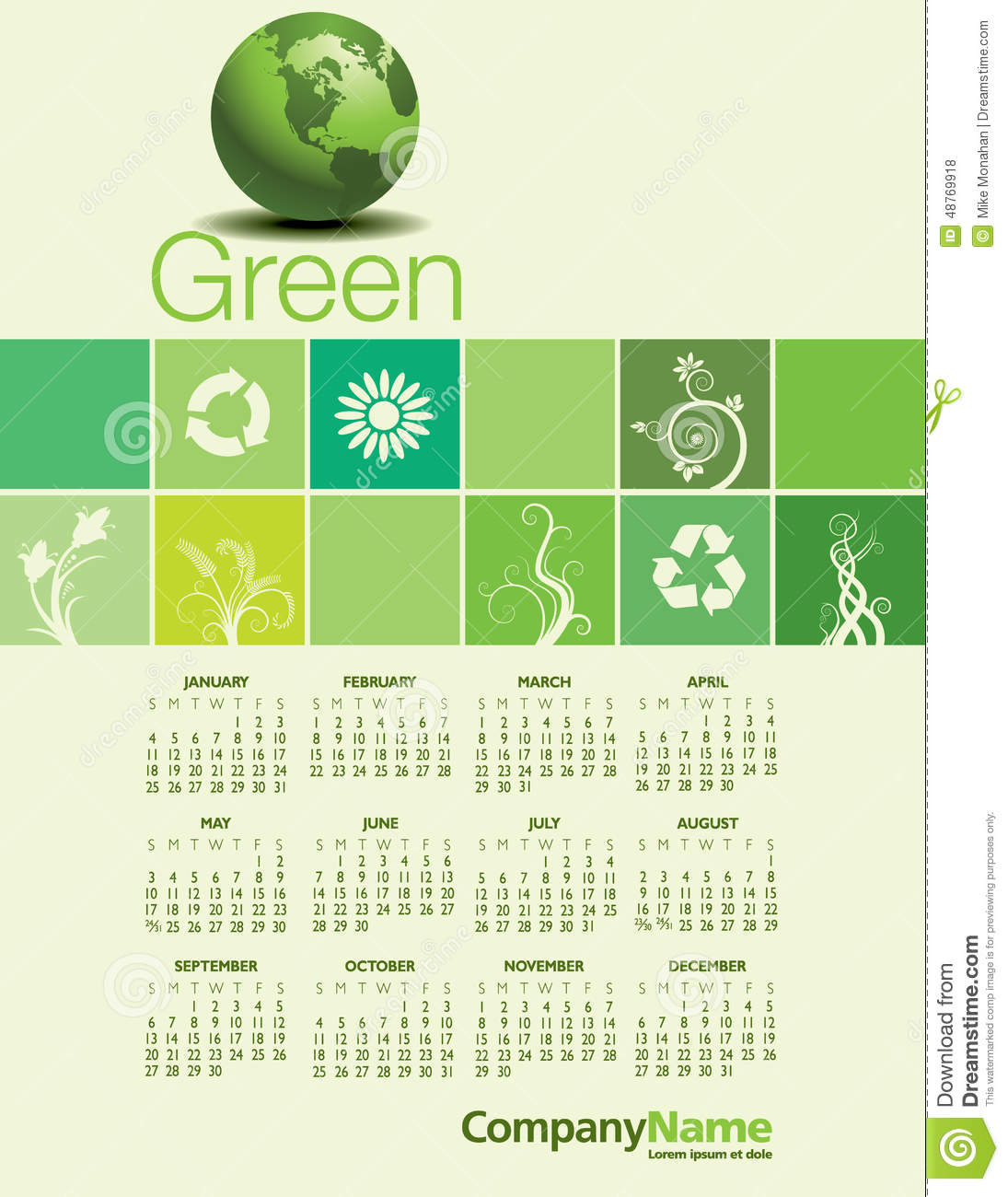 Calendar Design Ideas Ks : A green environmental calendar stock vector