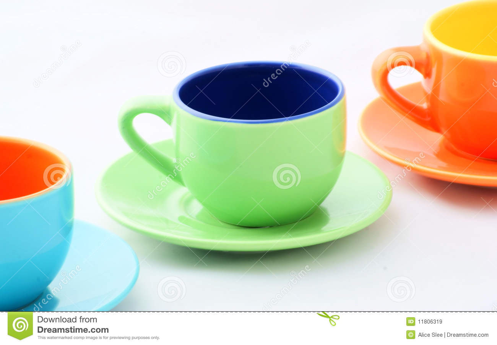 Espresso Coffee Green ~ Coffee mug on the orange green stock photography