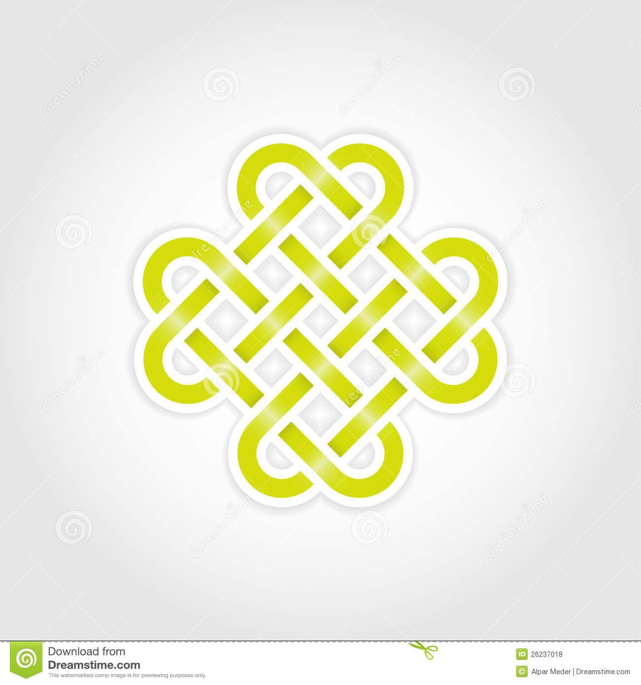 Green eternal knot concept in editable vector format.