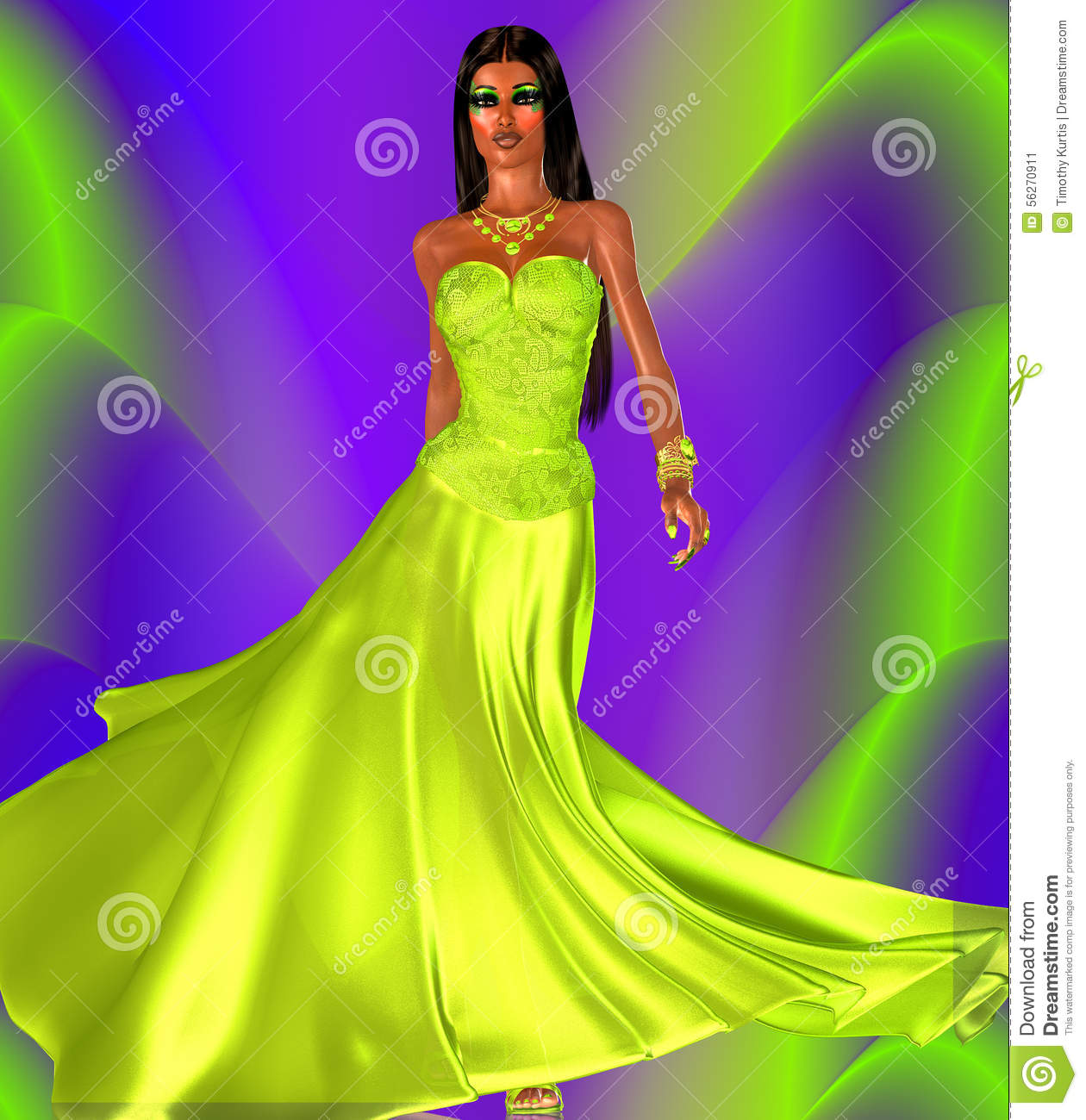 Green Evening Gown And A Colorful Background Perfect For Beauty And