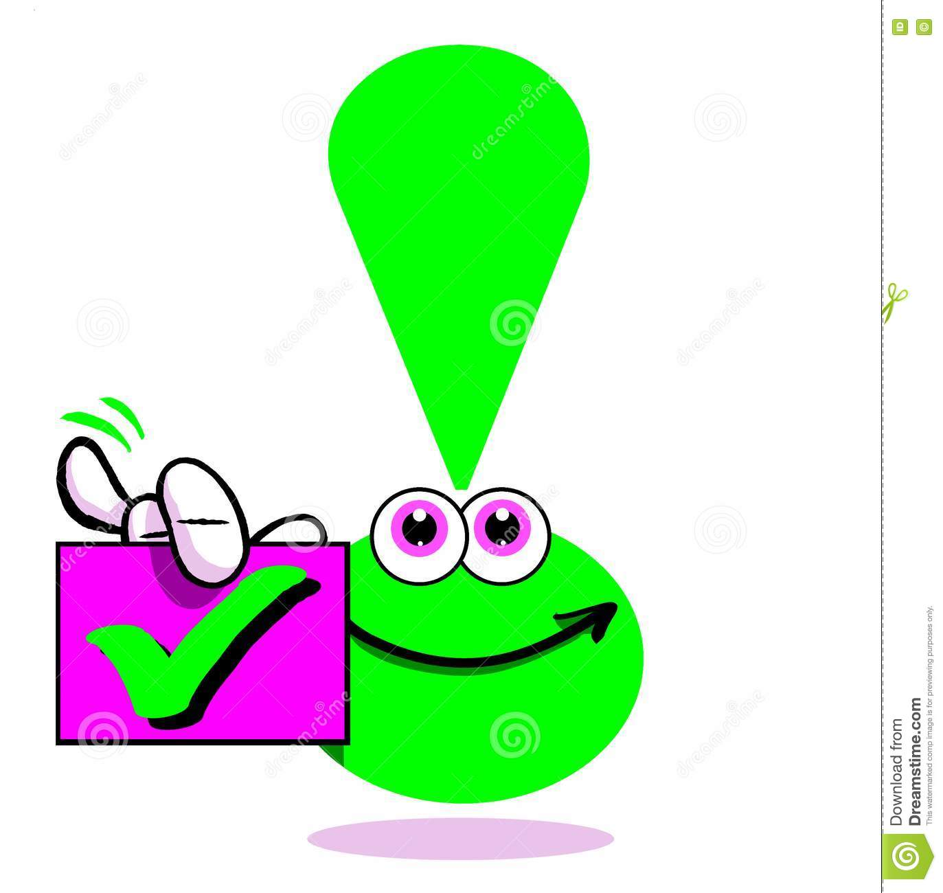 green exclamation point with check mark stock illustration