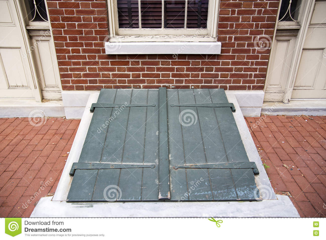 Green exterior storm cellar doors stock image image of outside downstairs 72278045 - Cellar door hinges ...