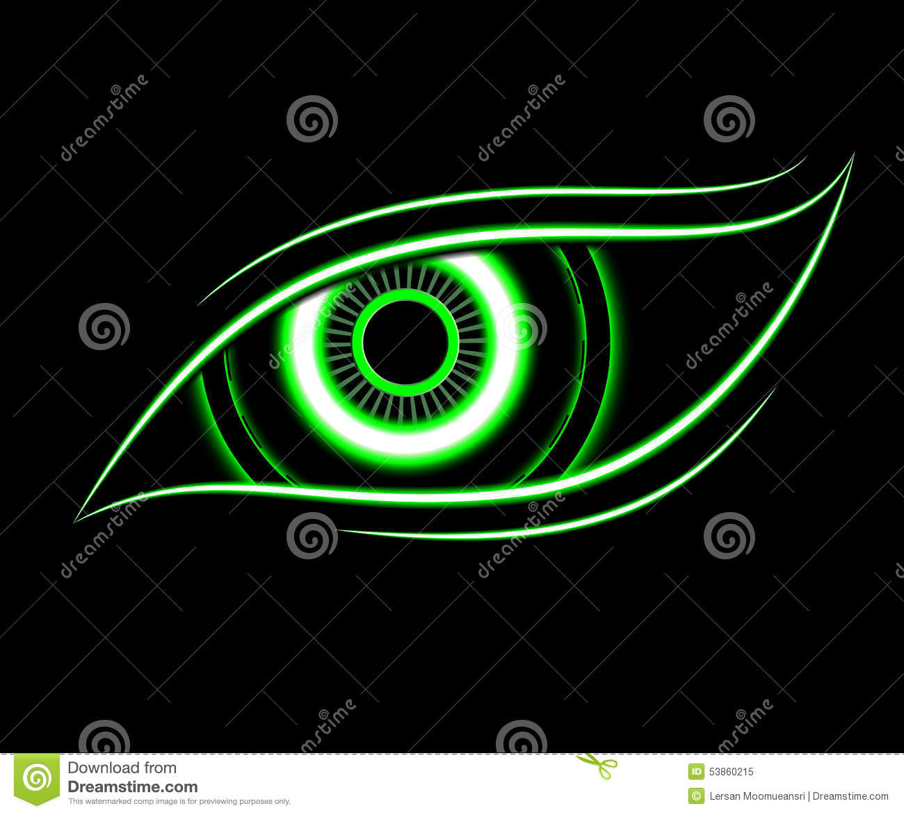 green eye technology abstract background stock illustration