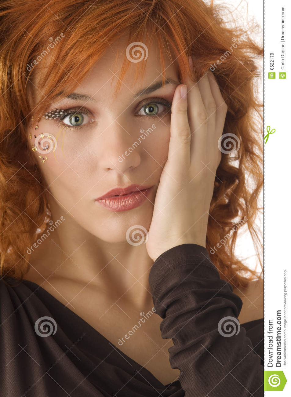 Green Eyes Red Head Stock Photo Image Of Make Close