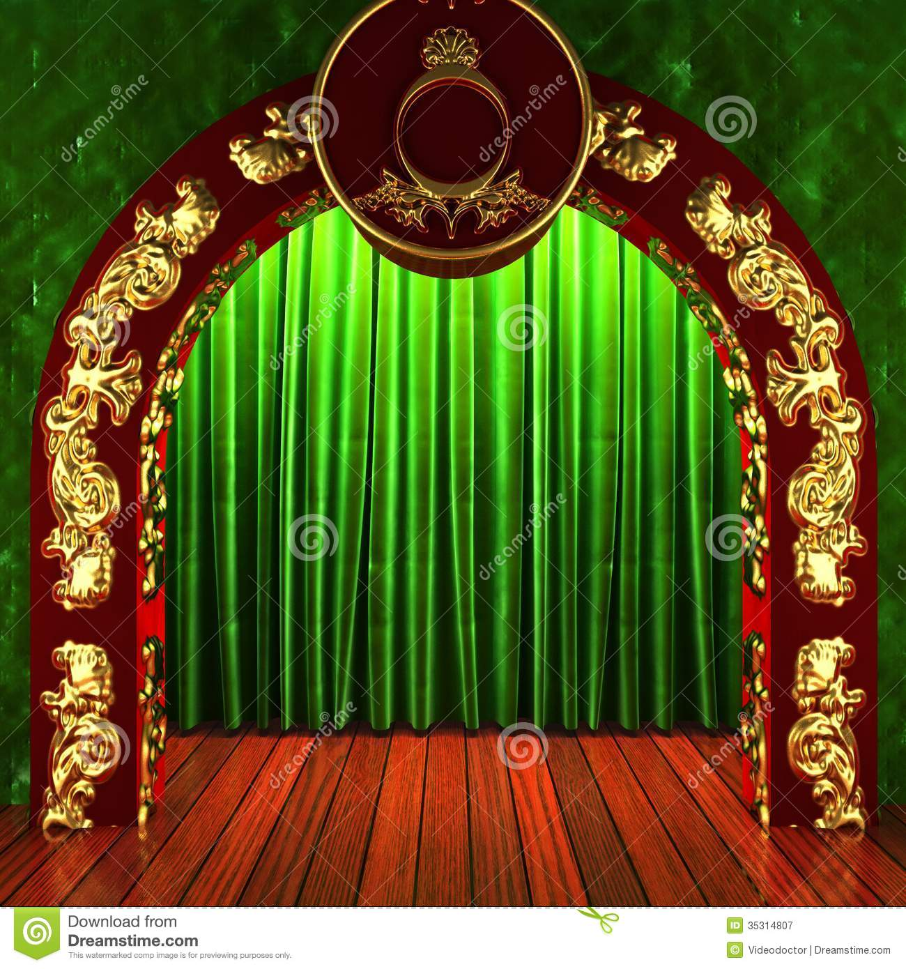 Gold stage curtain - Green Fabric Curtain With Gold On Stage Royalty Free Stock Photography