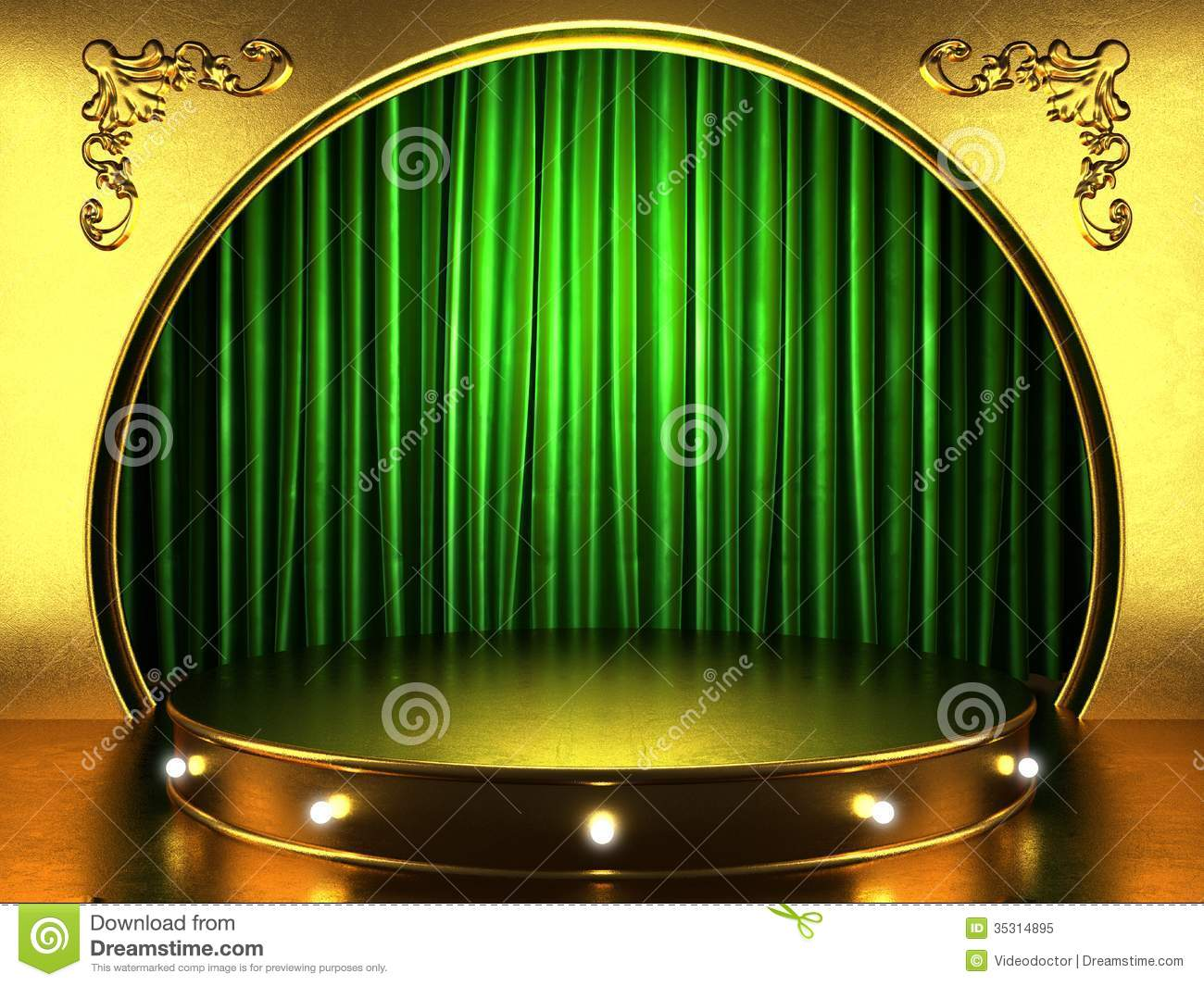 Green stage curtains - Green Fabric Curtain With Gold Royalty Free Stock Photo