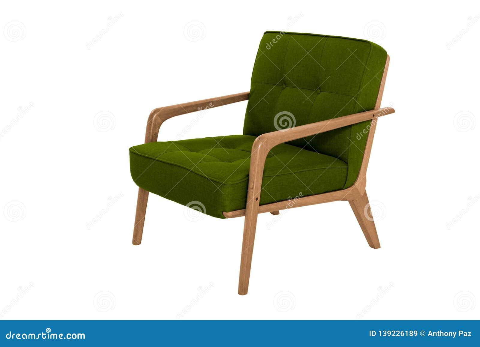 green fabric wood armchair modern designer chair white background texture