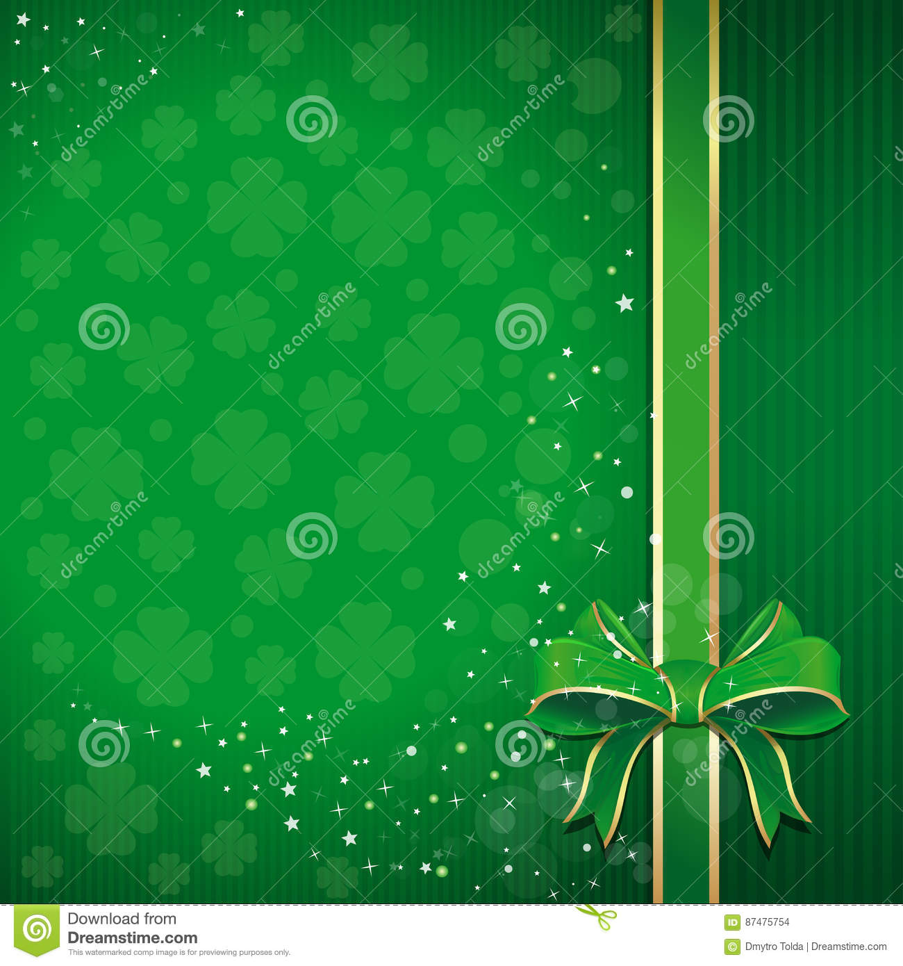 Green festive background with ribbon, bow and leafed clover for St. Patricks Day with free space for text