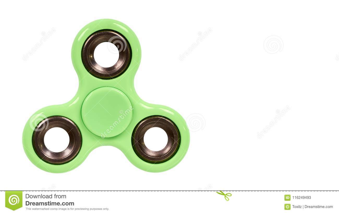 green fidget spinner isolated on white background copy space