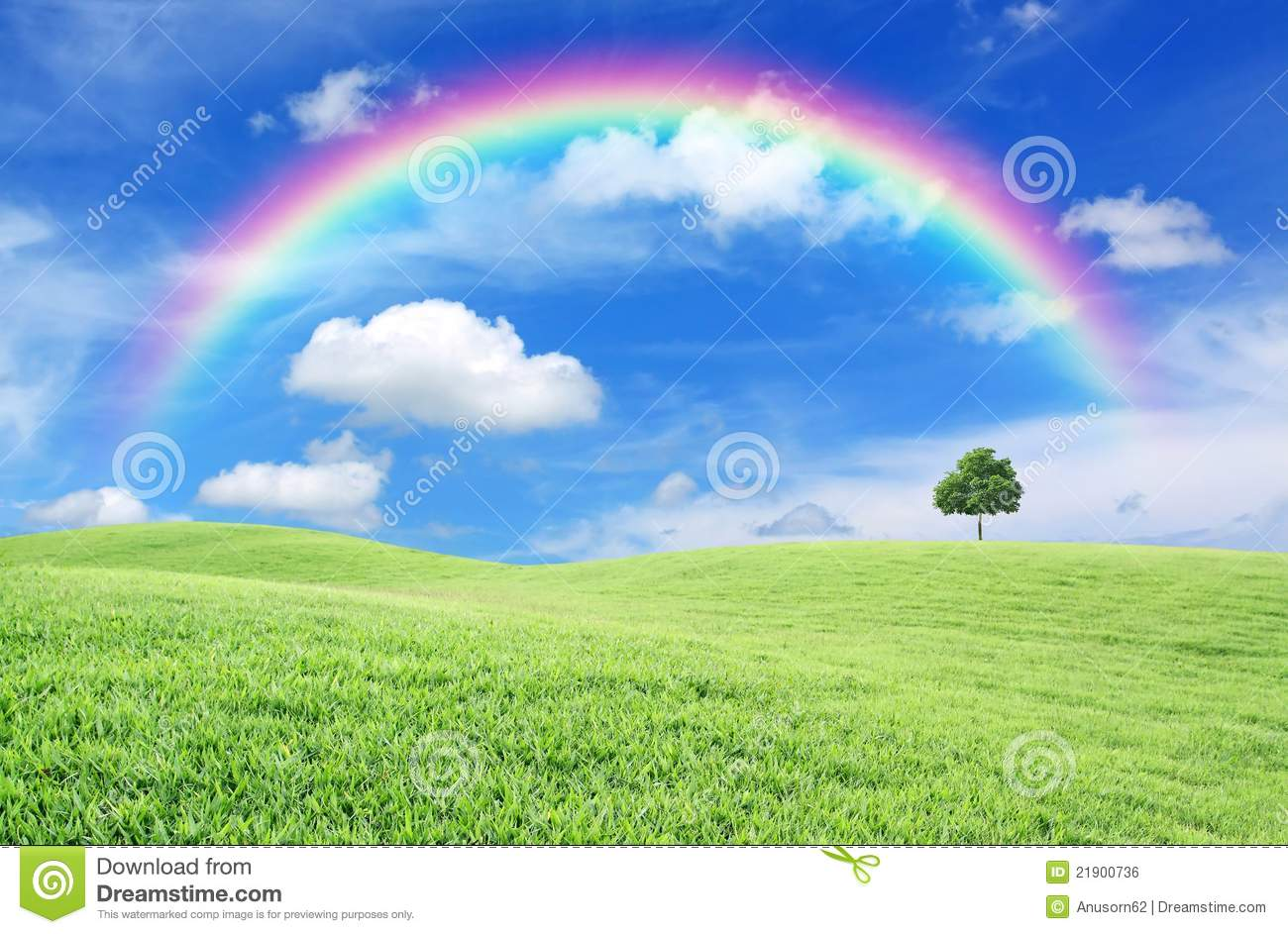 Green Field With Lone Tree And Rainbow Royalty Free Stock