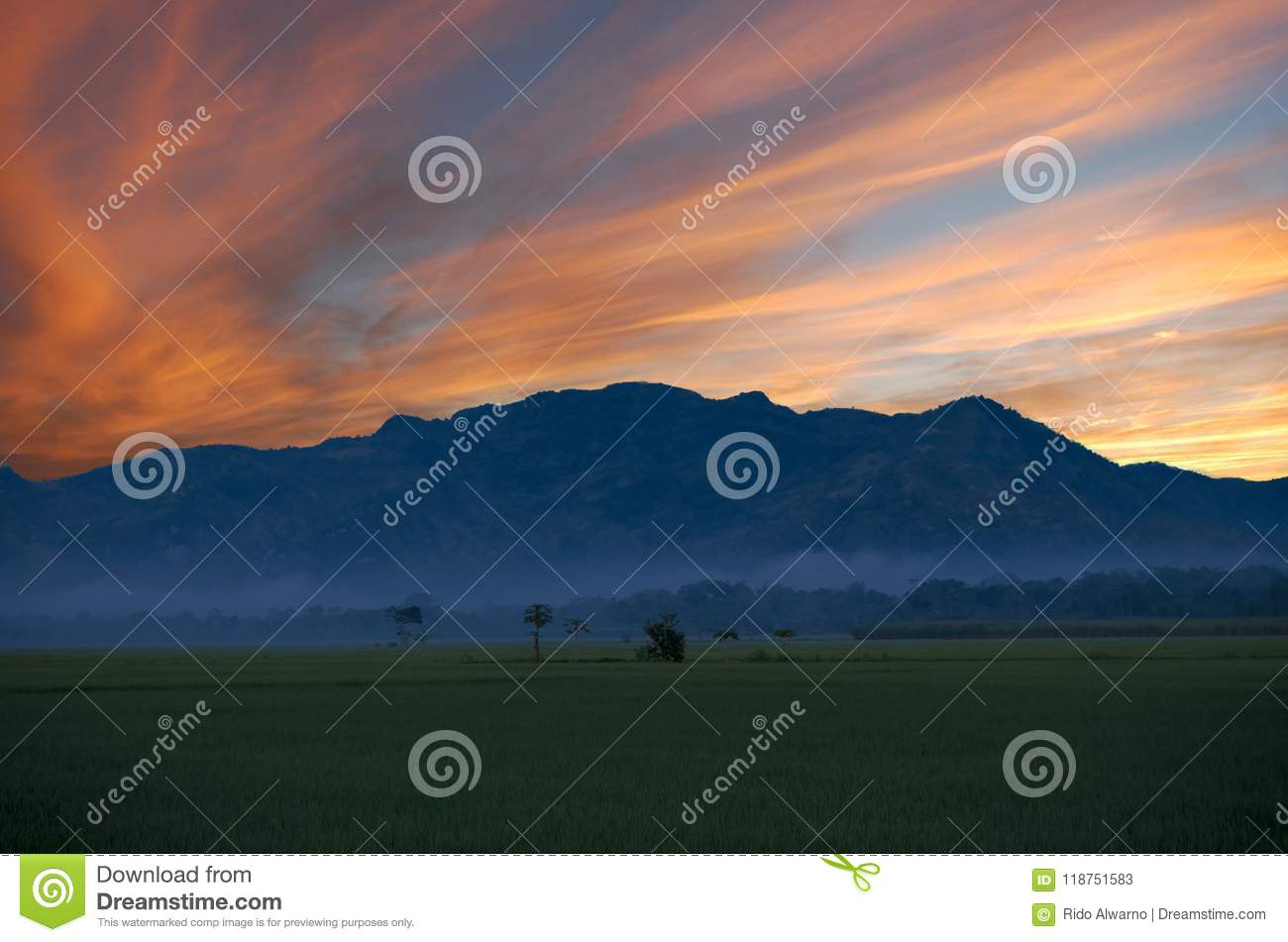Green field at dawn and mountain in the distance under the red clouds