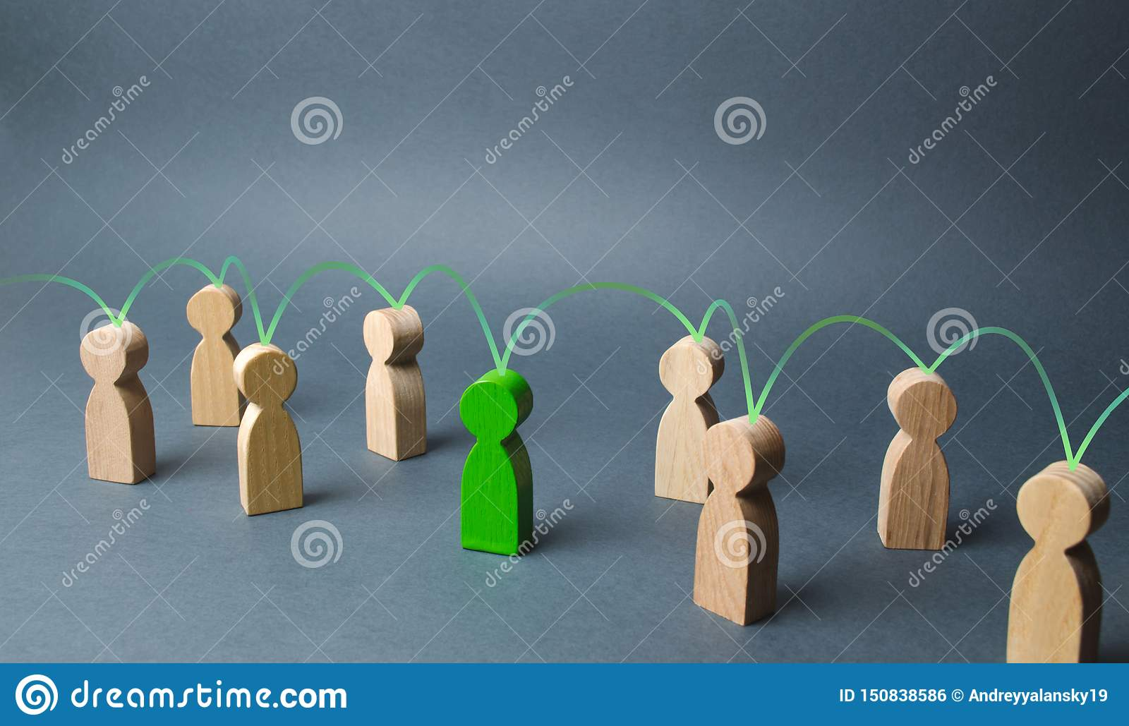 The green figure of a person unites other people around him. Social connections, communication. Organization. Call for cooperation