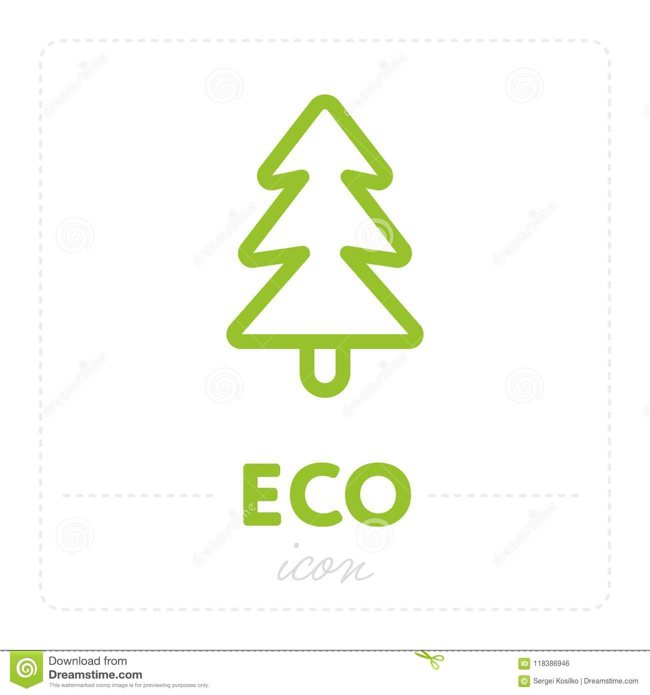 Green Fir Tree Icon On White Stock Vector - Illustration of life ...