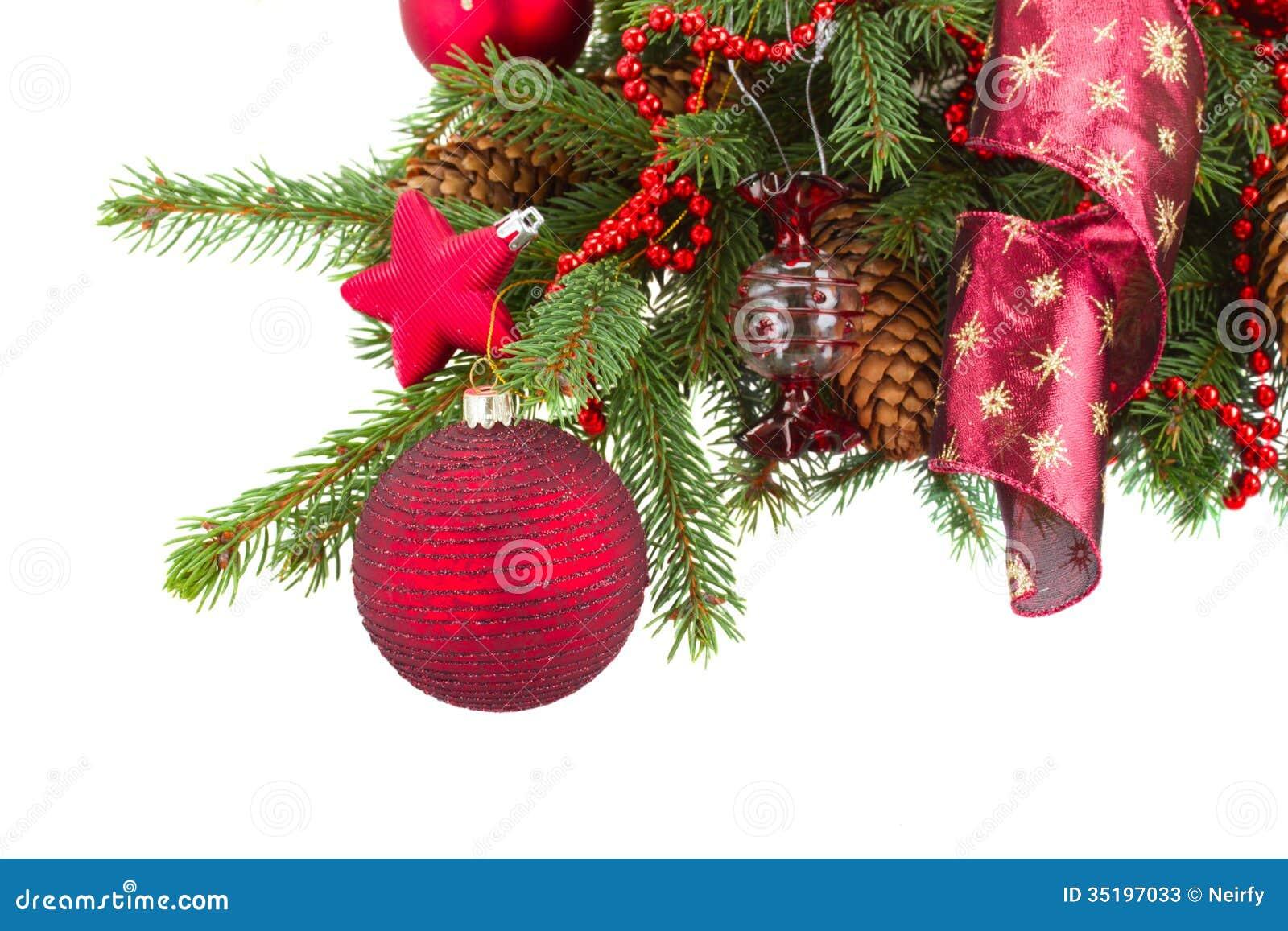 Green fir tree and red christmas ball stock image image for Red green christmas tree