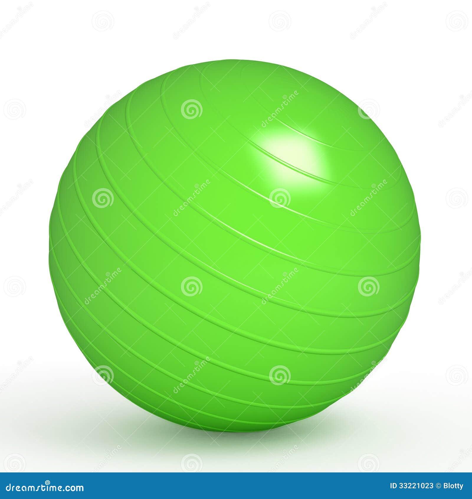 Green Fitness Ball On White Stock Photos - Image: 33221023