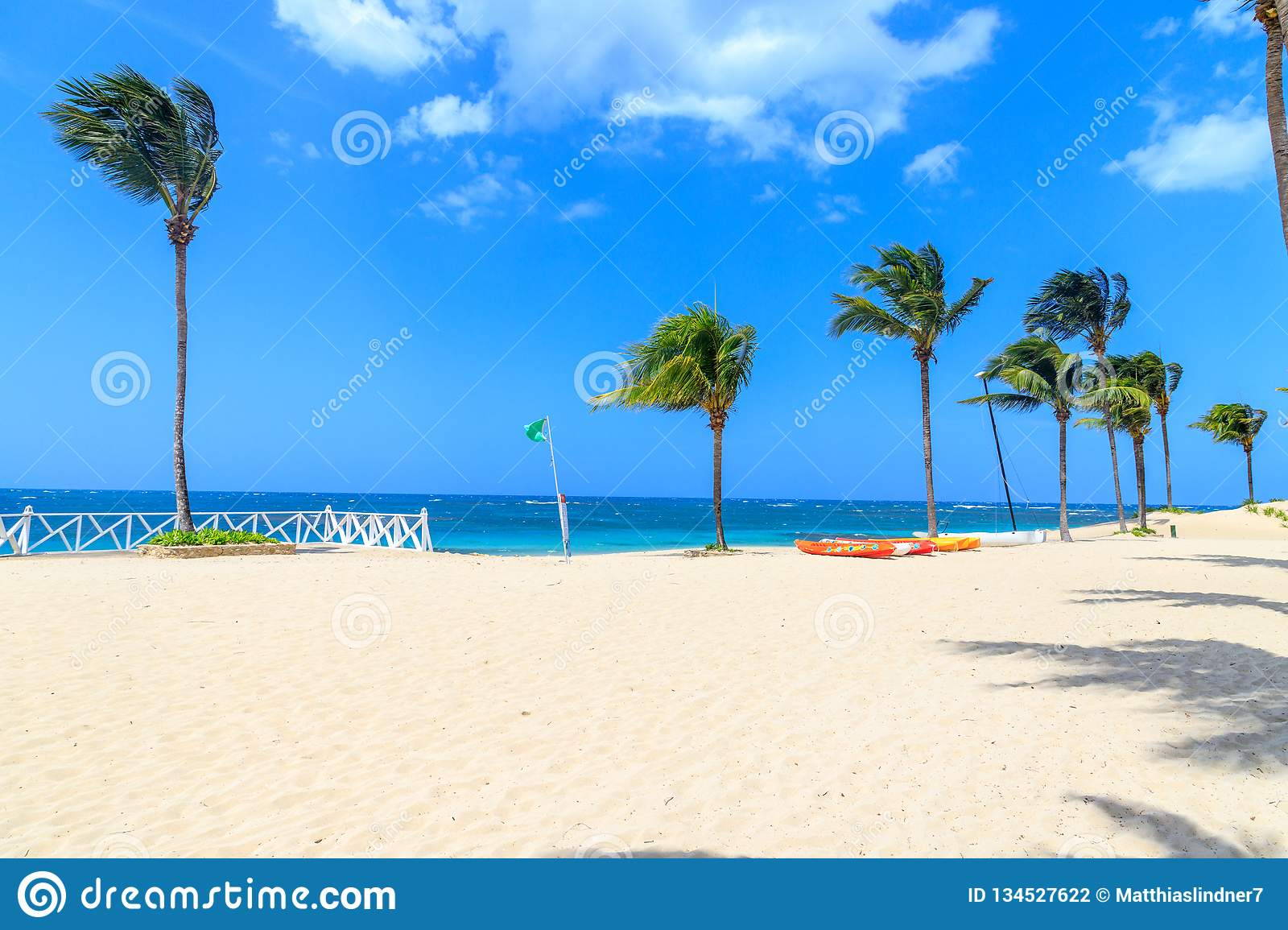Green flag on the beach indicates no danger when bathing. Dominican Republic