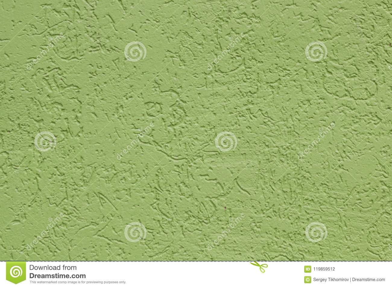 Green flat rough painted cement wall with many cavities. Seamless texture. Used as a background.