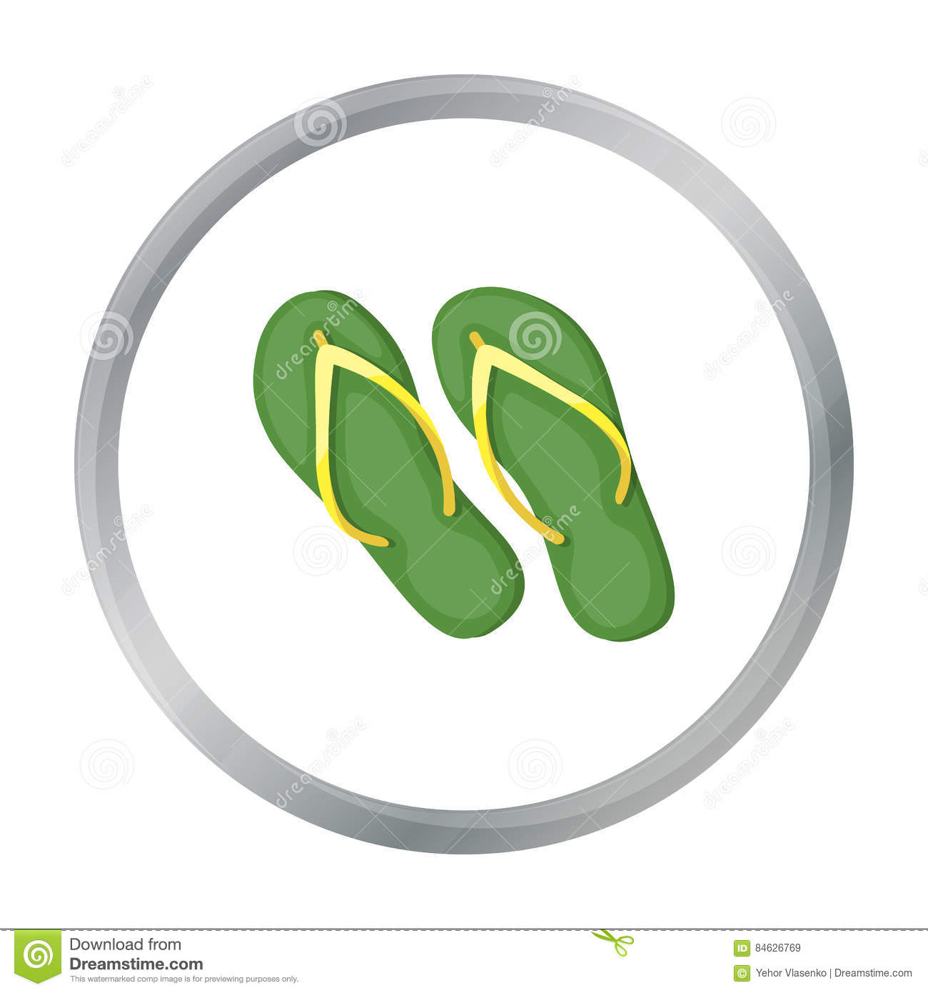 28590952d0f2 Green flip-flops icon in cartoon style isolated on white background. Brazil  country symbol stock vector illustration.