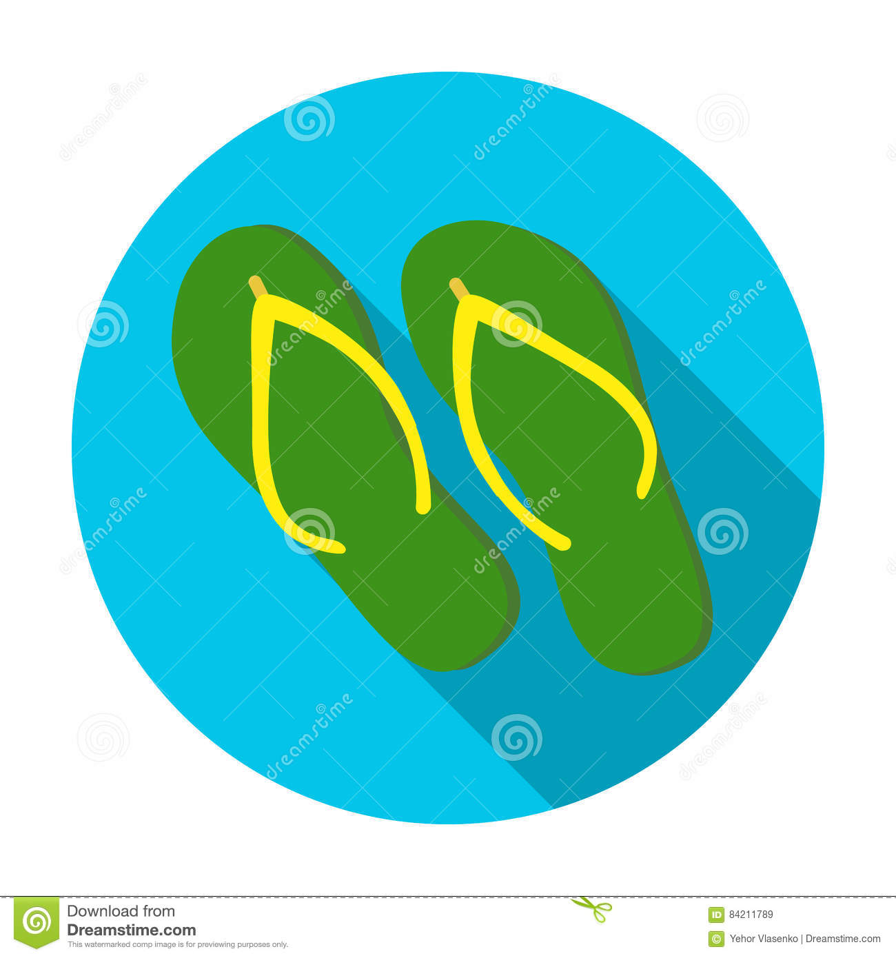 26c17782dd6d Royalty-Free Vector. Green flip-flops icon in flat style isolated on white  background.
