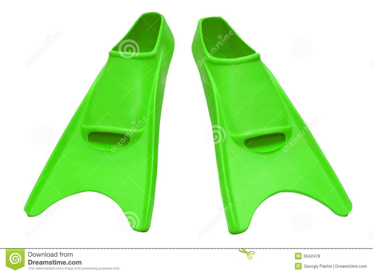 Green flippers isolated