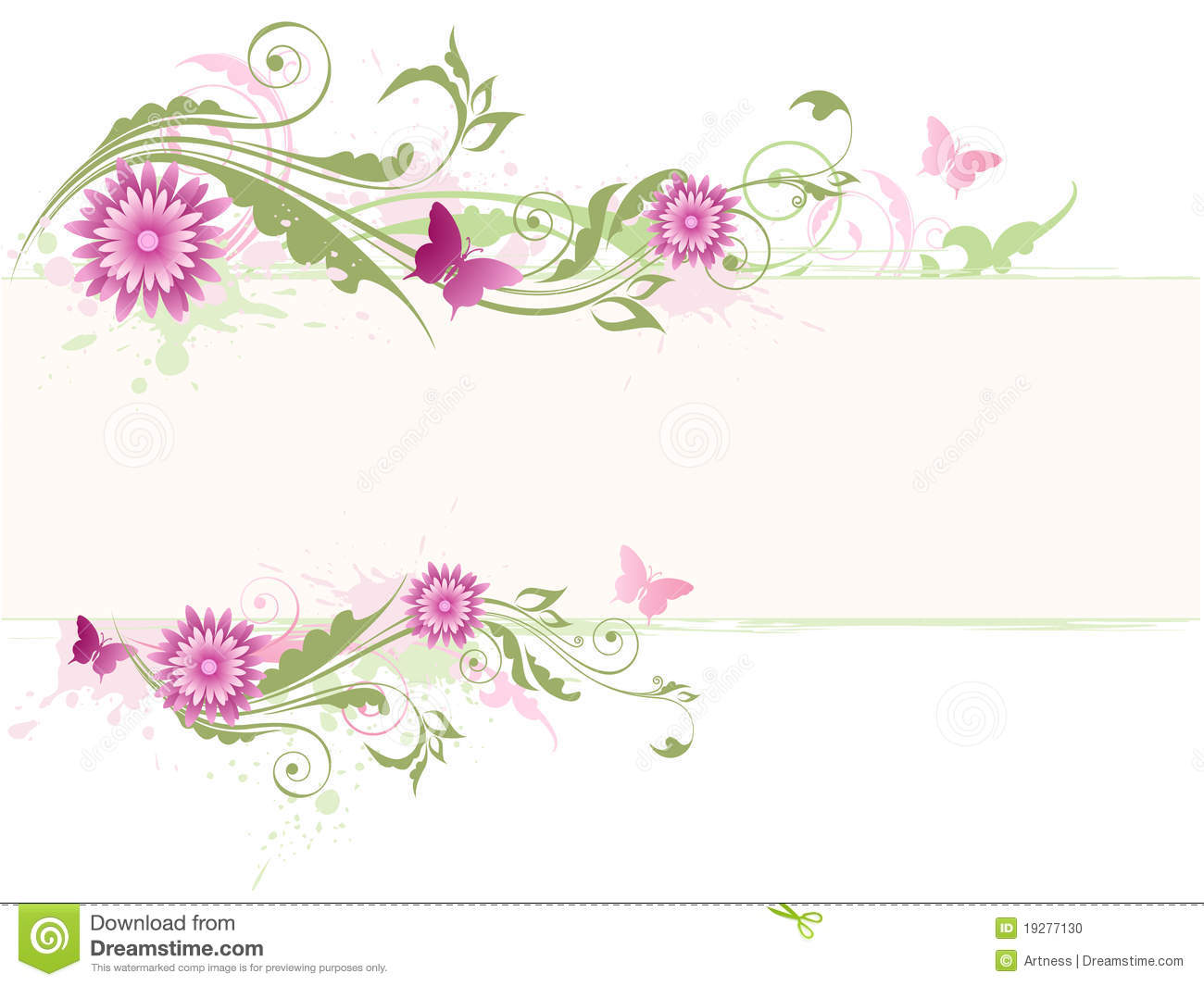 Green floral background with pink flowers stock vector green floral background with pink flowers mightylinksfo
