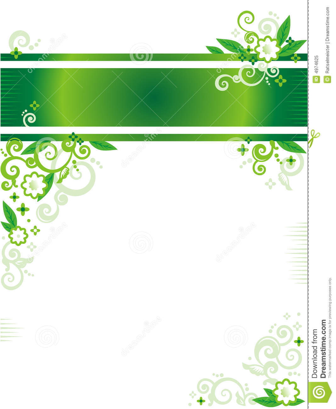 Green Floral Banner Or Letterhead And Corner Royalty Free Stock ...